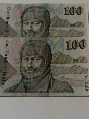Two $100 Australian Paper Bank Notes In Circulated But Good Condition !