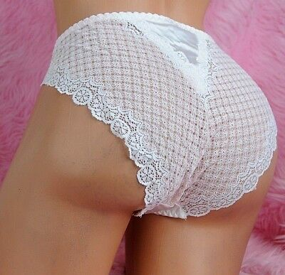 TANIA Lace SATIN VINTAGE new high cut sexy BEIGE or PINK SISSY panties Sz XL