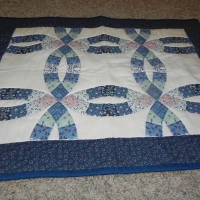 """#1776 Vintage new 25"""" x 32"""" Quilted Wedding Ring Sampler Wall hanging Quilt deco"""