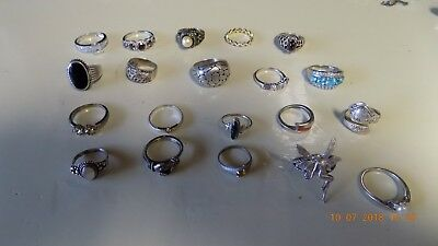 20 Vintage Sterling Silver Ring Lot ALL WEARABLE