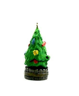 Handpainted Hanged Decorated Christmas Tree Pewter Thimble Top  Lifts Up.