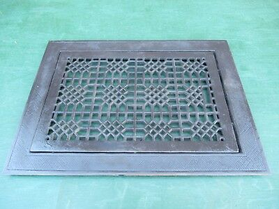 Vintage VICTORIAN Cast Iron Floor Grille 28x21 Heat Grate Register with Louvers