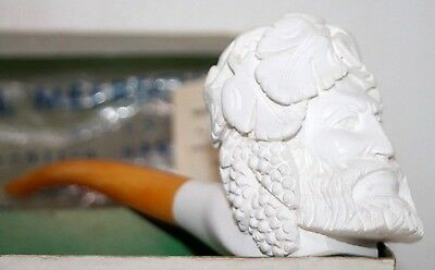 Antique Xl Unsmoked Hand Carved Figural Meerschaum Pipe W/ Box & Amber Stem.