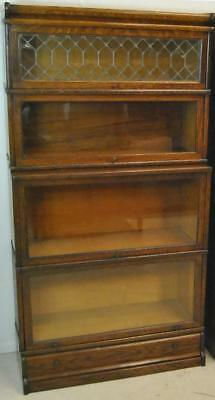 """Oak Barrister 4 Section Bookcase with Leaded Glass 65""""h x 34""""w x 13 1/2""""d"""
