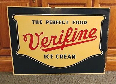 "vtg Verifine Ice Cream Metal Advertising Sign ""The Perfect Food""  -  28"" x 20"""