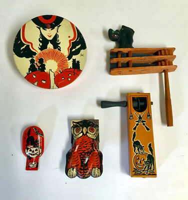SET OF 5 VINTAGE TIN LITHO & WOOD HALLOWEEN PARTY CLICKERS and NOISEMAKERS