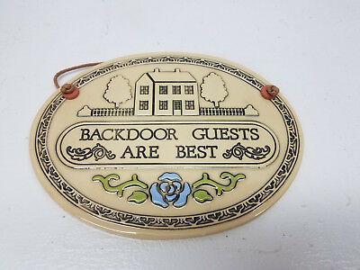 Vintage 1986 Trinity Pottery Oval Hanging Plaque Back Door Guests Are Best