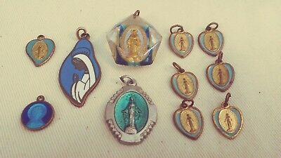 Lot Of 11 Vintage Blue Enamel Religious Medals Pins