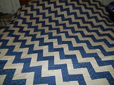 Fabulous Blue White Sawtooth Early 1900 Antique Quilt Top Hand Stitched Pieced