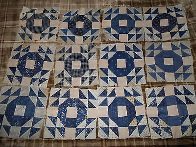 12 Awesome Antique Quilt BLocks Eye Catching Pattern OLD Cotton Fabric