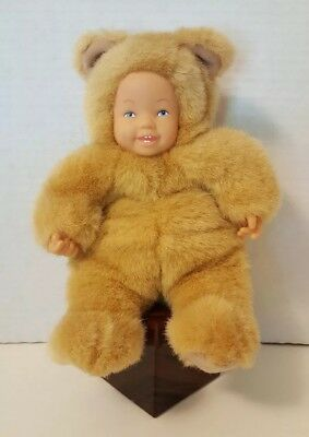 "Anne Geddes 1997 Baby Tan Bear Plush Doll 9"" Stuffed Animal Bean Bottom Toy L@@K"