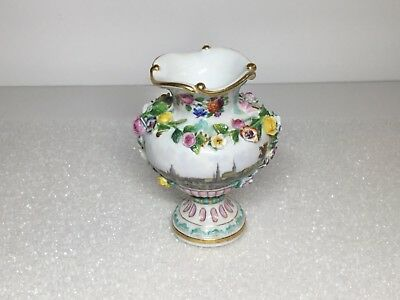 Meissen Encrusted Applied Flowers Small Vase with Dresden Cityscape Scene Scenic