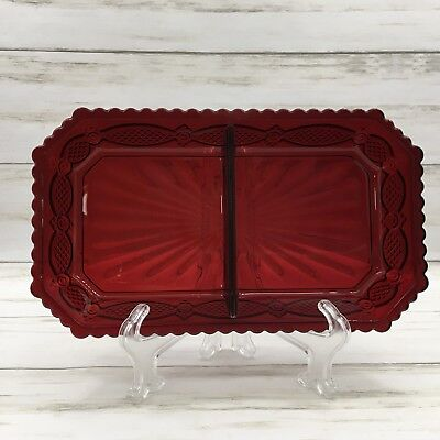 Avon Cape Cod Ruby Red Divided Condiment Tray Glass