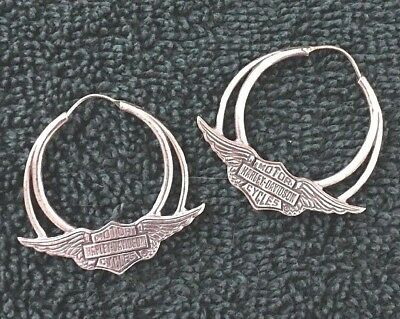 Harley Davidson Sterling Silver Earrings With Wings
