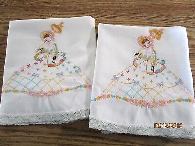 Vintage Hand Embroidered Pillowcases, Southern Belles White Cotton Pillow Tubing