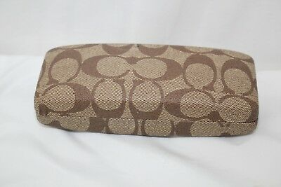COACH Signature Eye Glasses/Sunglasses Case in Khaki with Cleaning Cloth *EUC*