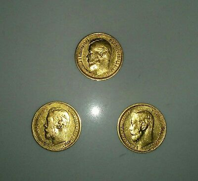 Set of 3 Russia Russian imperial 5 rouble gold coins 1897 1900 90% gold Romanov