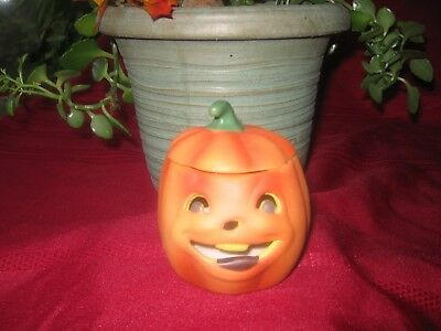 New Ceramic Pumpkin tea light holder Halloween 2 scented candles 4 inches tall