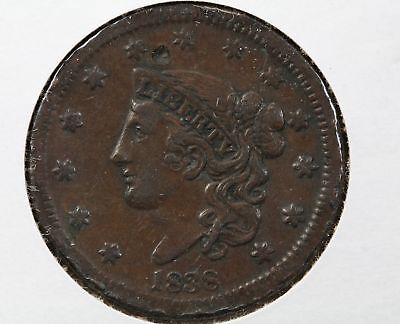 1838 Large Cent Digs VF Details