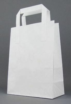 DURA KRAFT WHITE Food Take Away Carrier SOS PAPER BAG Handles - MEDIUM x 250