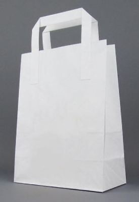 DURA KRAFT WHITE Food Take Away Carrier SOS PAPER BAG Handles - MEDIUM x 100