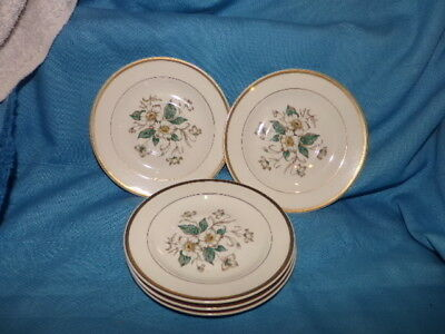 Vtg Edwin Knowles Set 5 Dogwood Flower Design Saucer Gold Trim  Made in USA