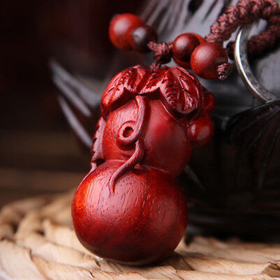 Precious Red Sandalwood Wood Hand Carving Chinese Calabash Statue Key Chain