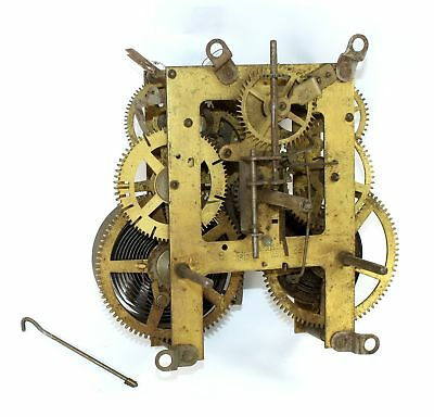 Ingraham 8 Day Time And Strike Clock Movement - Parts Or Repair - Dh256