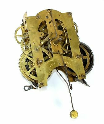 Ansonia 8 Day Time And Strike Clock Movement - For Parts Or Repair - Dh257
