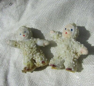 Antique Snow Baby Bisque Doll Miniature SetTwo Germany Hand Painted Hertwig