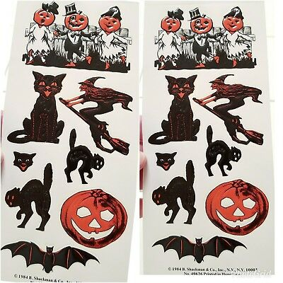 Vtg 1984 Shackman Embossed Halloween Seals NOS Ephemera Black Scared Cat Bat JOL