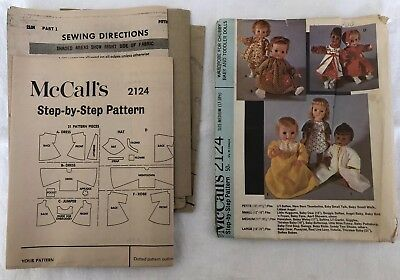 1969 Vintage McCall's 2124 Step By Step Doll Clothes Pattern