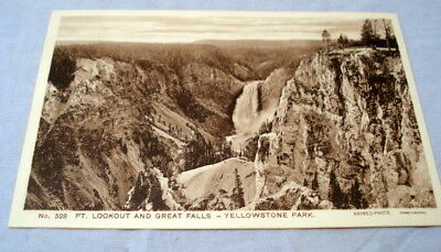 Antique Postcard Yellowstone Park Haynes Photo #528 FT. Lookout & Great Falls