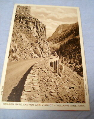 Antique Postcard Yellowstone Park Haynes Photo #543 Golden Gate Canyon & Viaduct
