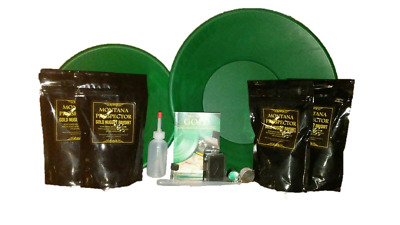Gold Pay Dirt Panning Kit w/ 4 Bags of Montana Gold Nugget Paydirt Combo Pack