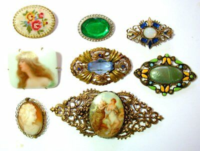 Vtg Antique 8 Cameo Brooch Lot Hand Painted Rhinestone Real Carved Shell C Clasp