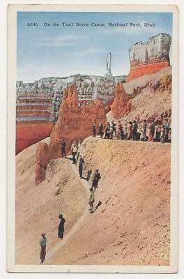 Bryce Canyon National Park Utah c1920's tourists on the trail, vintage postcard