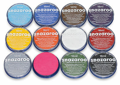18ml Classic SNAZAROO FACE BODY PAINTS Fancy Dress Party Stage Theatre Makeup