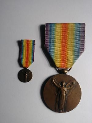 France World War One Inter-Allied Victory Medal + miniature