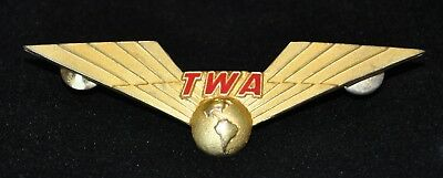 Vintage TWA 1/20 10K Blackinton Gold Filled Wings Pin Crew Trans World Airlines