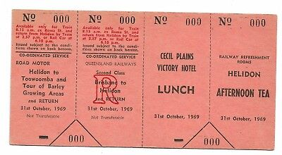 1969 Brisbane Barley Area Tour 4 part Ticket with Lunch & Afternoon Tea No 000