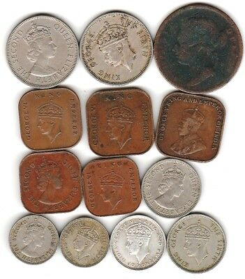 13 different world coins from BRITISH MALAYA some silver