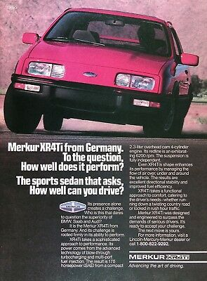1986 MERCURY MERKUR XR4Ti Genuine Vintage Advertisement ~ 2.3L 175hp