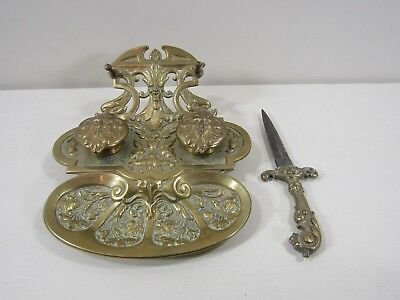Ges.Gesch Ornate Brass Inkwell with North Wind Faces and Letter Opener