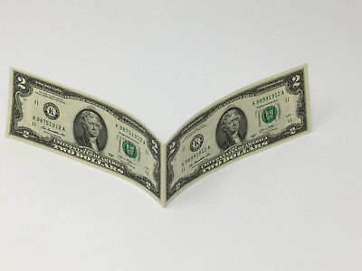 TWO $2 BILLS STUCK TOGETHER  REAL Money!