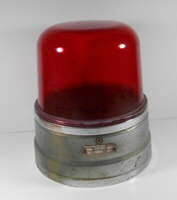 Vintage 1950'S Sireno Fire Truck Emergency Light Beacon Red Glass Globe
