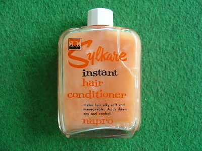 Vintage 60's Napro Sylkare hair conditioner bottle/grocery/retro