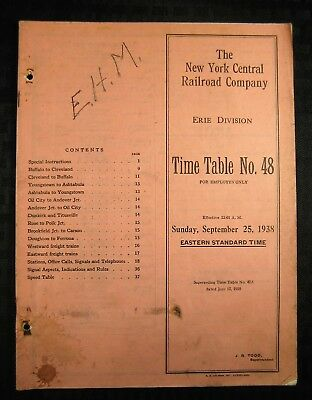 NEW YORK CENTRAL Railroad - Erie Division - Employee Timetable - 1938