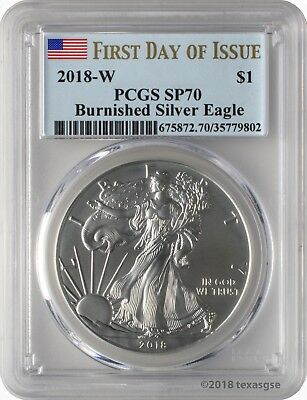 2018-W $1 Burnished American Silver Eagle PCGS SP70 - First Day of Issue