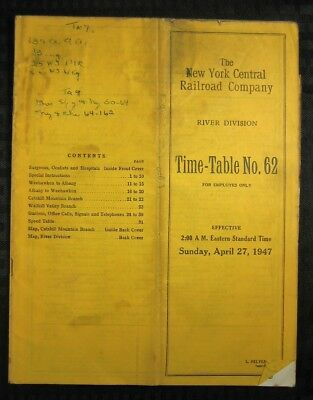 NEW YORK CENTRAL Railroad - River Division - Employee Timetable - 1947